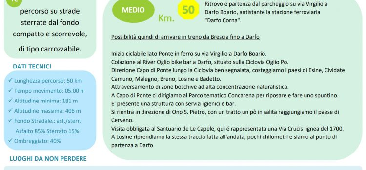 "[02] Ciclovia Oglio Po ""Darfo > Capo di Ponte > Cerveno"""